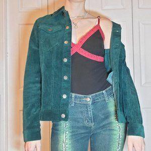 Emerald green corderoy jacket 100% cotton - Grunge
